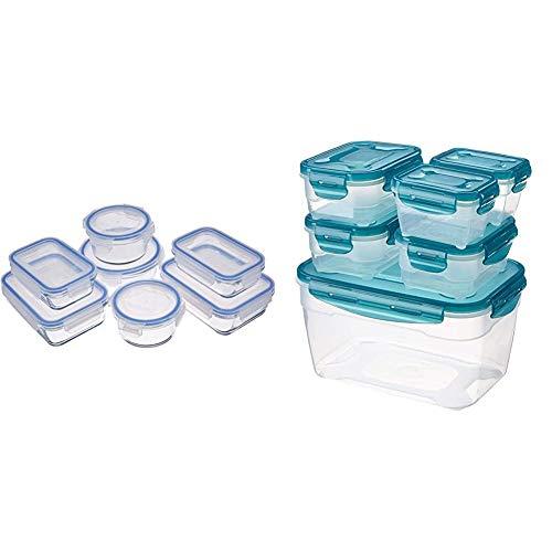 14 piezas Recipientes de cristal para alimentos, con cierre + 6 unidades de almacenamiento de comida