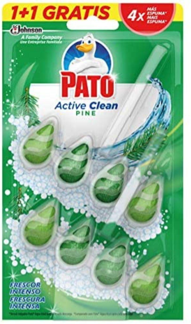 PATO - Active Clean Colgador para Inodoro, Frescor Intenso, Perfuma y Desinfecta, Aroma Pino. Pack 2 unidades solo 0'80€ unidad