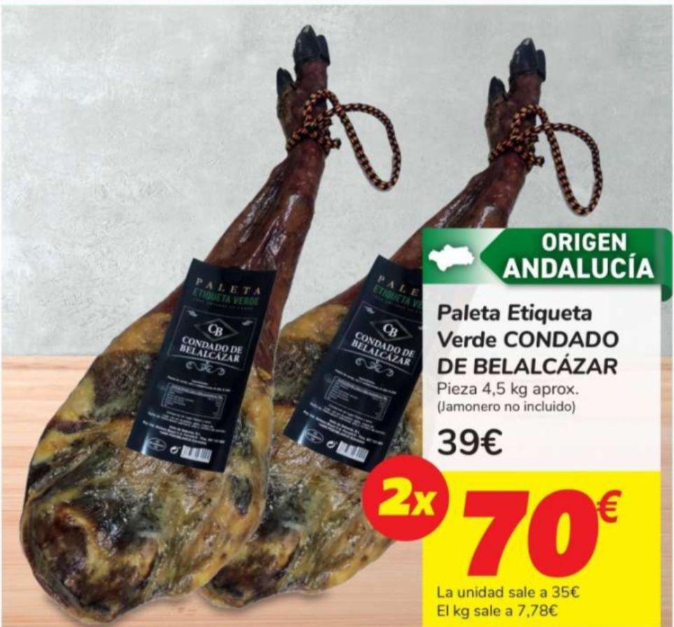 2 paletas etiqueta verde Condado de Belalcázar