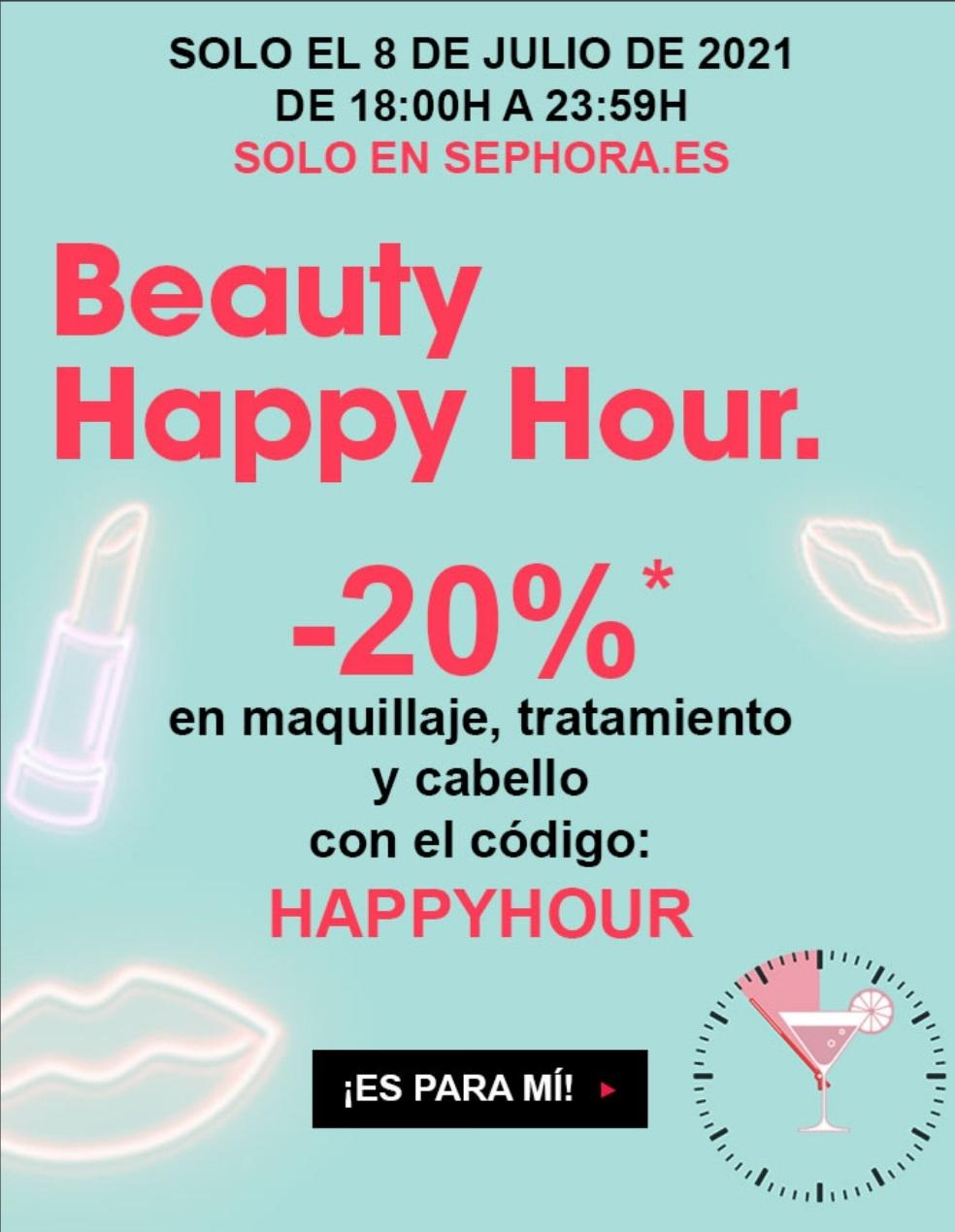Happy Hour en Sephora con el 20% de descuento en maquillaje y productos para el cabello SOLO HOY