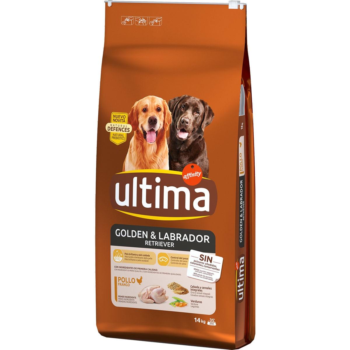 Pack 2 sacos ULTIMA: Pienso especial para perros adultos con pollo y arroz 14 kg de raza Golden y Labrador Retriever