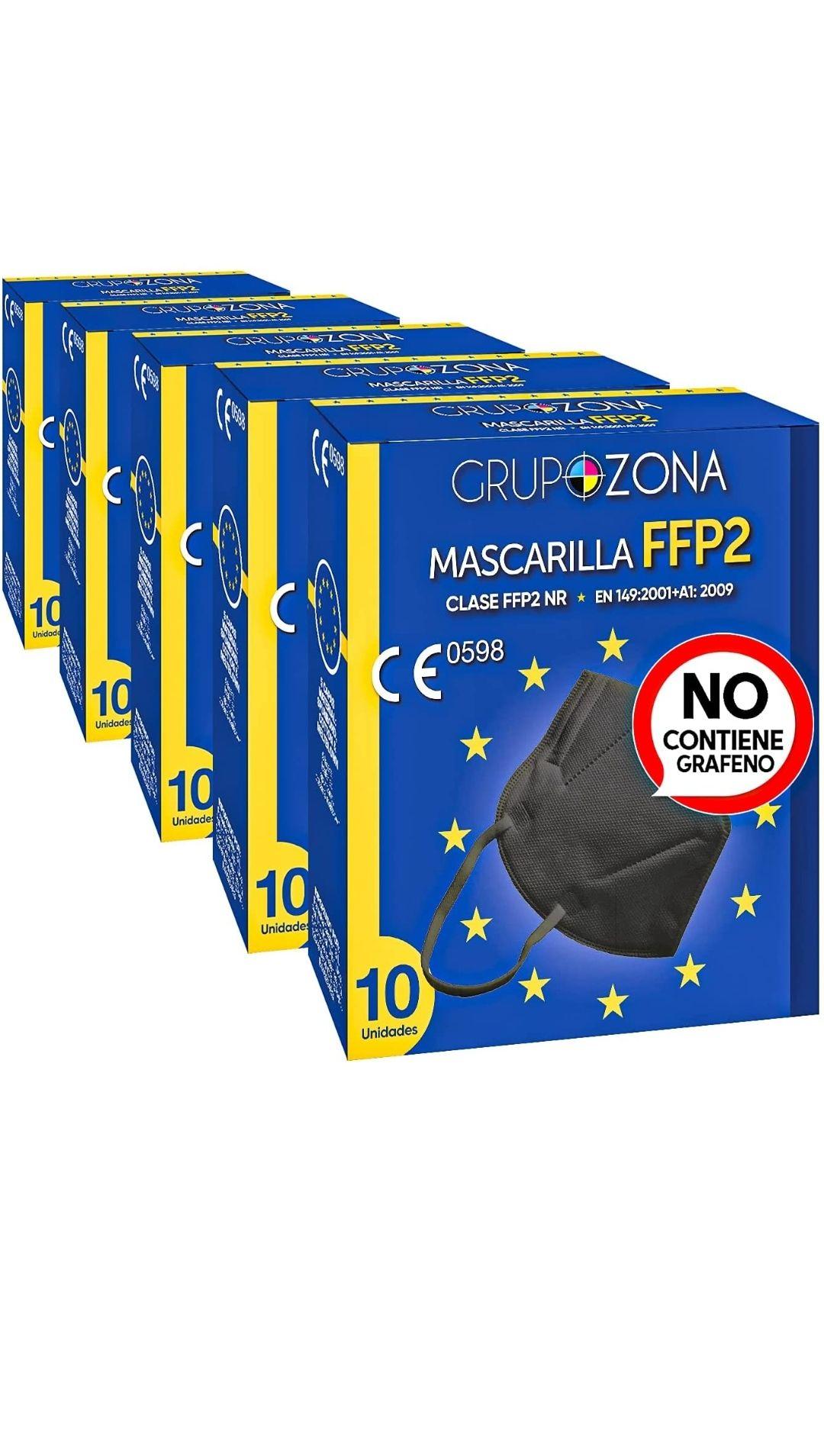 50 uds. Mascarillas Negras FFP2 NR homologadas CE 0598, filtrado de 5 capas - GrupoZona - Mascarilla protección negra