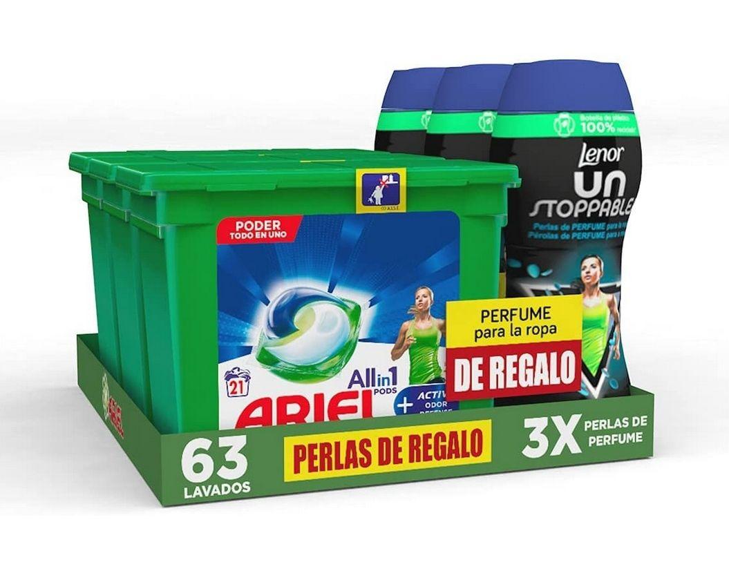 Ariel Detergente Lavadora Cápsulas, 3x21 Lavados, Active + Lenor Unstoppables, 3x15 lavados