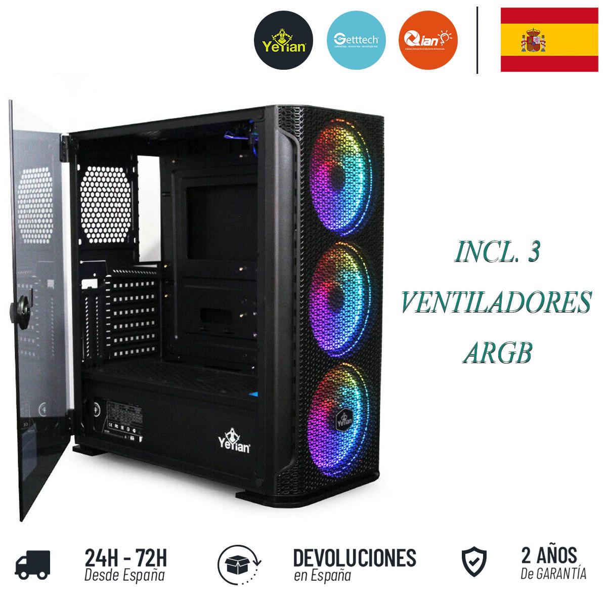 Caja de PC Yeyian con cristal templado y 3 ventiladores ARGB [Desde España]