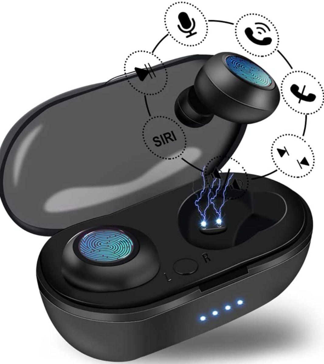 Auriculares Inalámbricos Bluetooth con micrófono Dual y caja de carga, IPX5