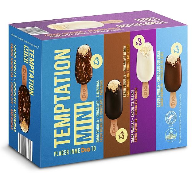 Helado mini bombón mix 4 sabores, caja 12 uds. 432 gr - DIA TEMPTATION - 1,49€