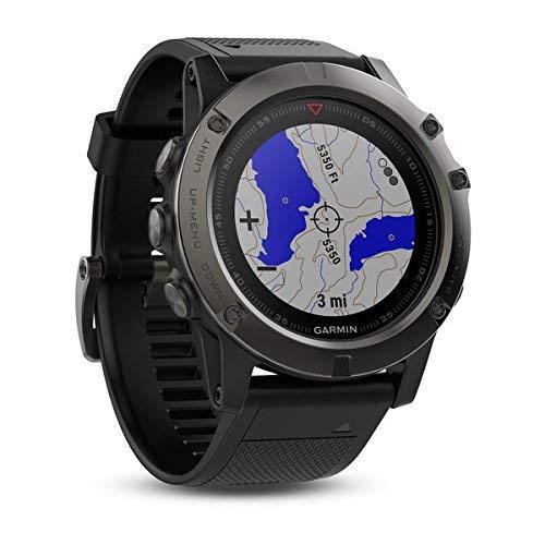 Garmin Fenix 5X- Reloj GPS con pulsómetro, zafiro gris con correa negra, talla 51 mm (Reacondicionado)