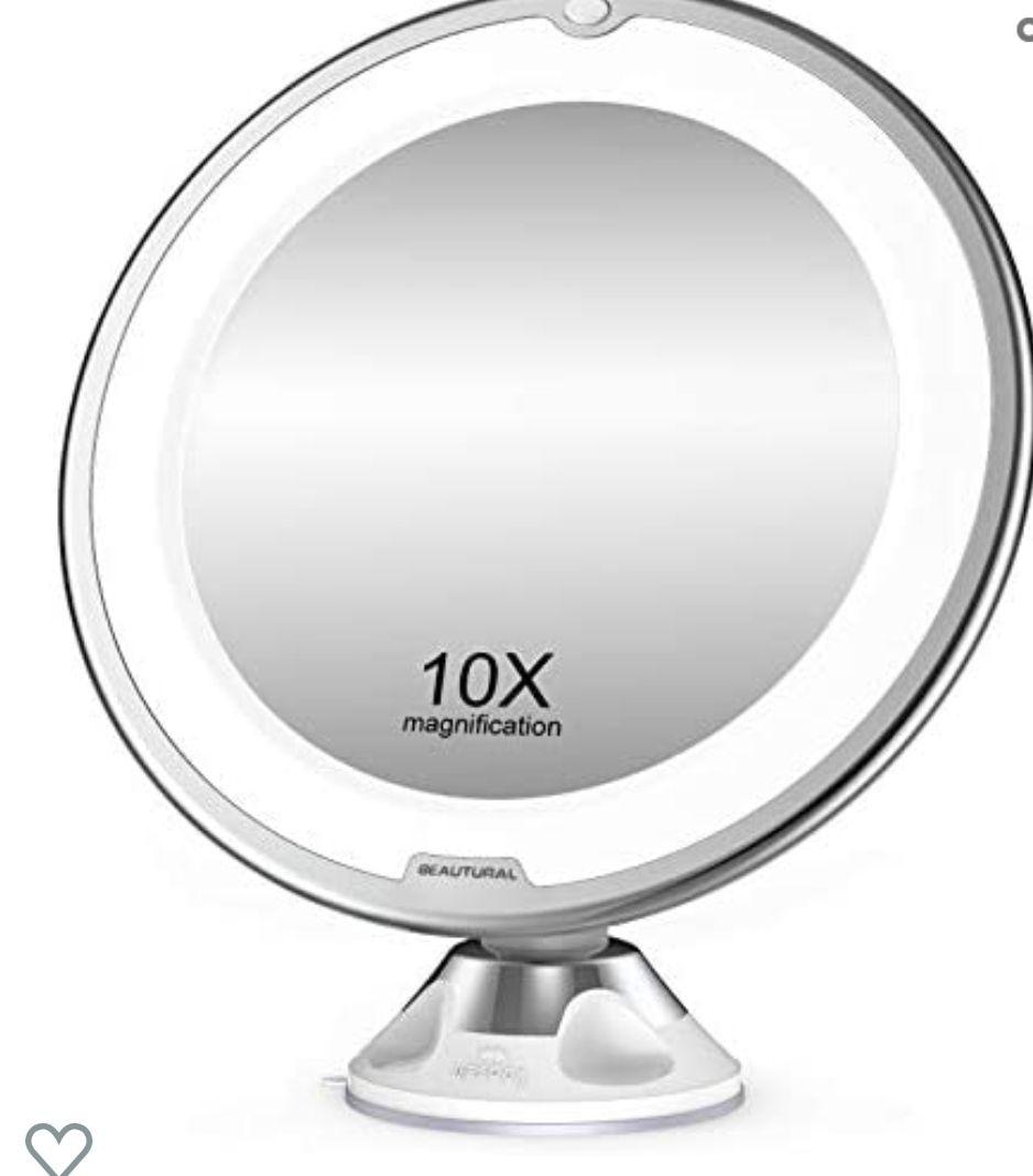 Espejo de Baño Mujer, Espejo Maquillaje con luz LED Aumento 10X