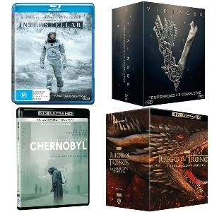 Interstellar, Origen, The Martian, Chernobyl, Juego de Tronos, Vikingos, El señor de los anillos, Friends [Blu-Ray, 4k UHD]