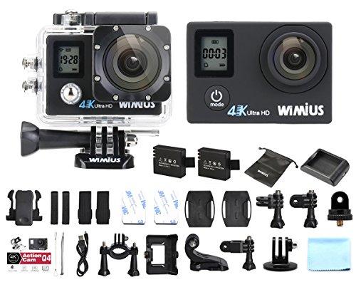 Cámara Deportiva 4K Wifi,WiMius Q4 Doble Pantalla 16MP FHD Impermeable Sumergible hasta 40m, Grabación en Cámara Lenta Cámara de Casco Amplio Ángulo de Visión 170 DVR Videocámara con 2 Baterías y Accesorios Múltiples-Negro