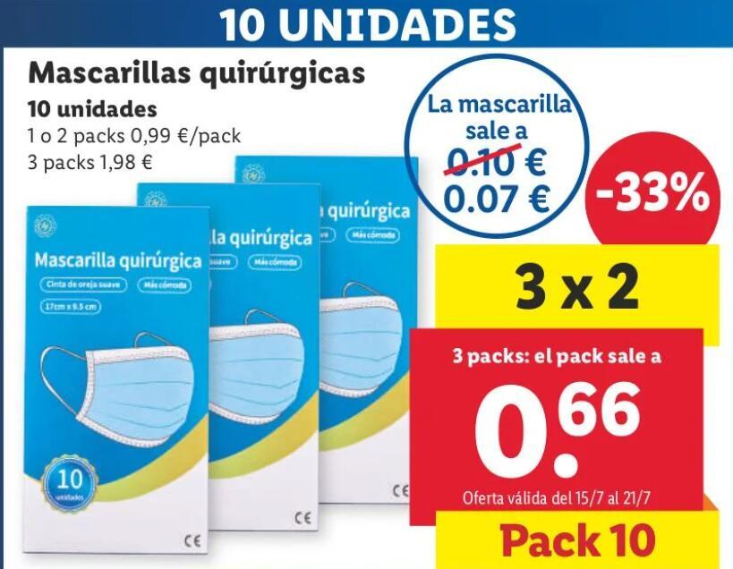 30 Mascarillas Quirúrgicas por 1.98€ (0.07€/Unidad)