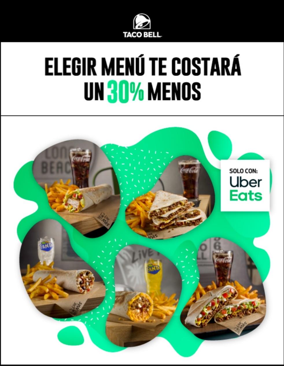 30% de descuento en menús de Taco Bell pidiendo en Uber Eats