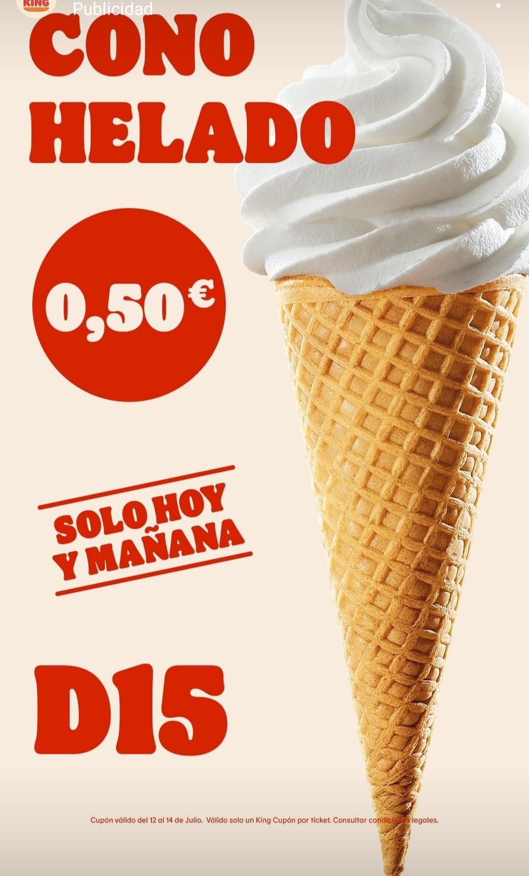 Cono helado a 0.50 centimos en Burger king