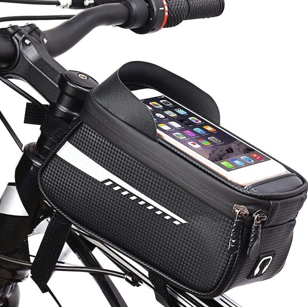 Bolsa impermeable para bicicleta, con pantalla táctil y orificio para auriculares