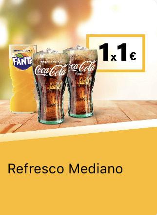 Bebida mediana x 1€ o Bebida grande x 1,30€ (App McDonald's)
