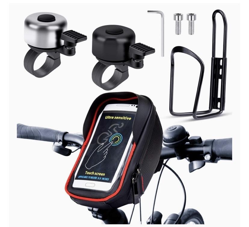 Pack para bicicleta 1 bolsa para cuadro de bicicleta. 2 timbre para bicicleta (negro y plata). 1 soporte para botellas
