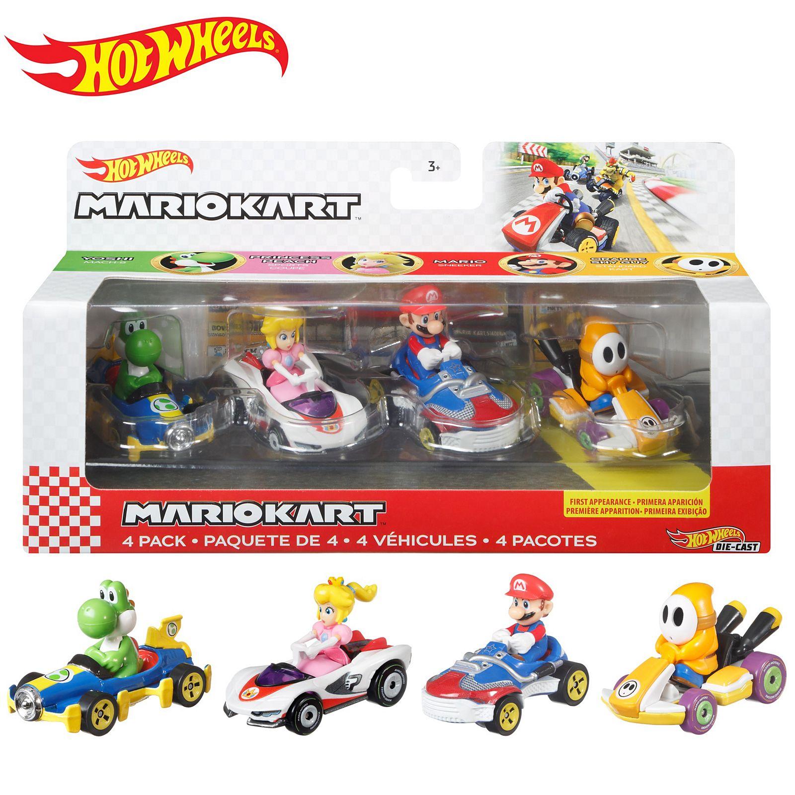 Hot Wheels Mario Kart Pack con 4 Mini Coches