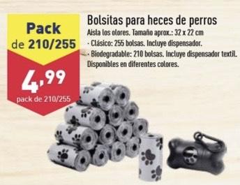 255 Bolsitas para heces de perro y dispensador en Aldi