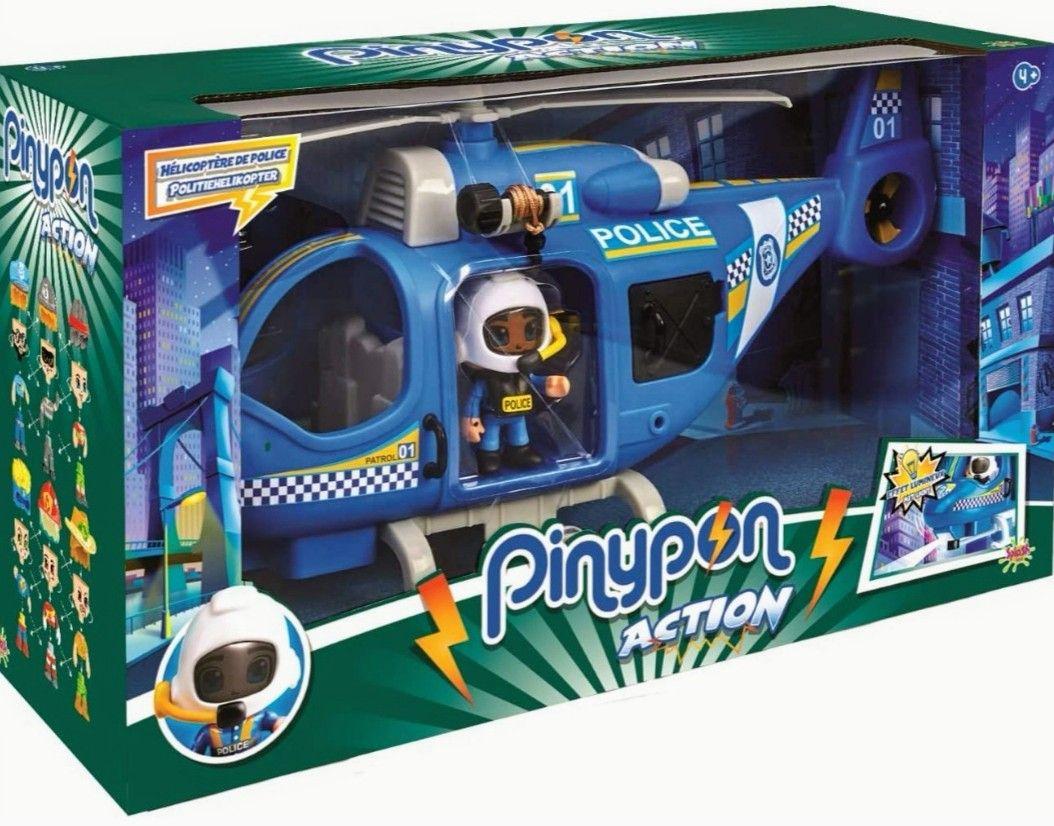 Pinypon Action - Helicóptero de policía con 1 Figura + Accesorios