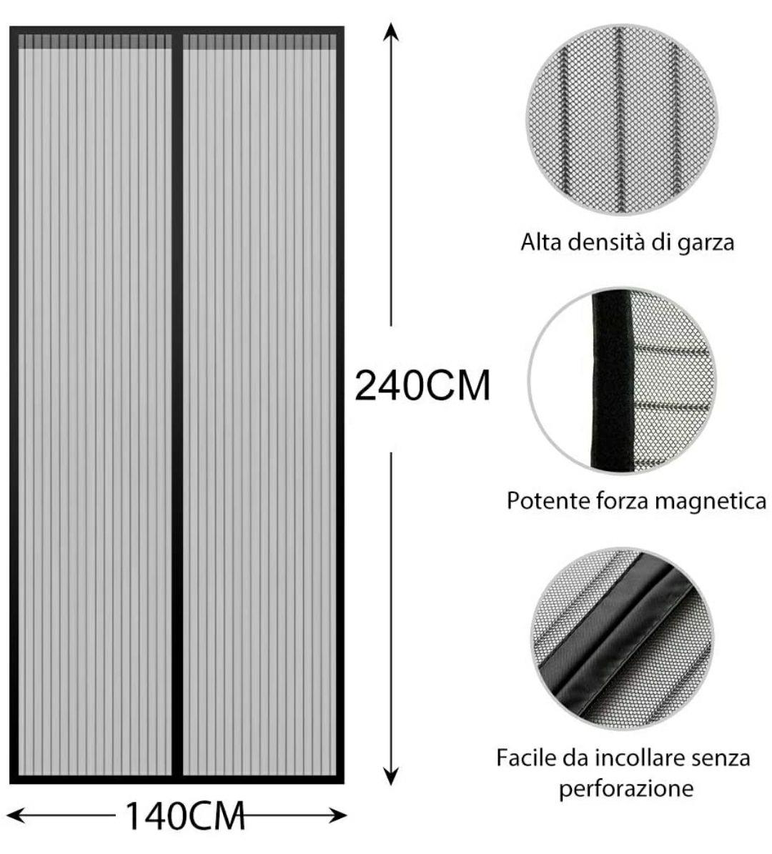 Mosquitera magnética Lictin para puerta 140*240cm con junta central imantada