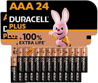 Duracell - Pilas alcalinas Plus AAA , 1.5 Voltios LR03 MN2400, paquete de 24 (Tambien AA)