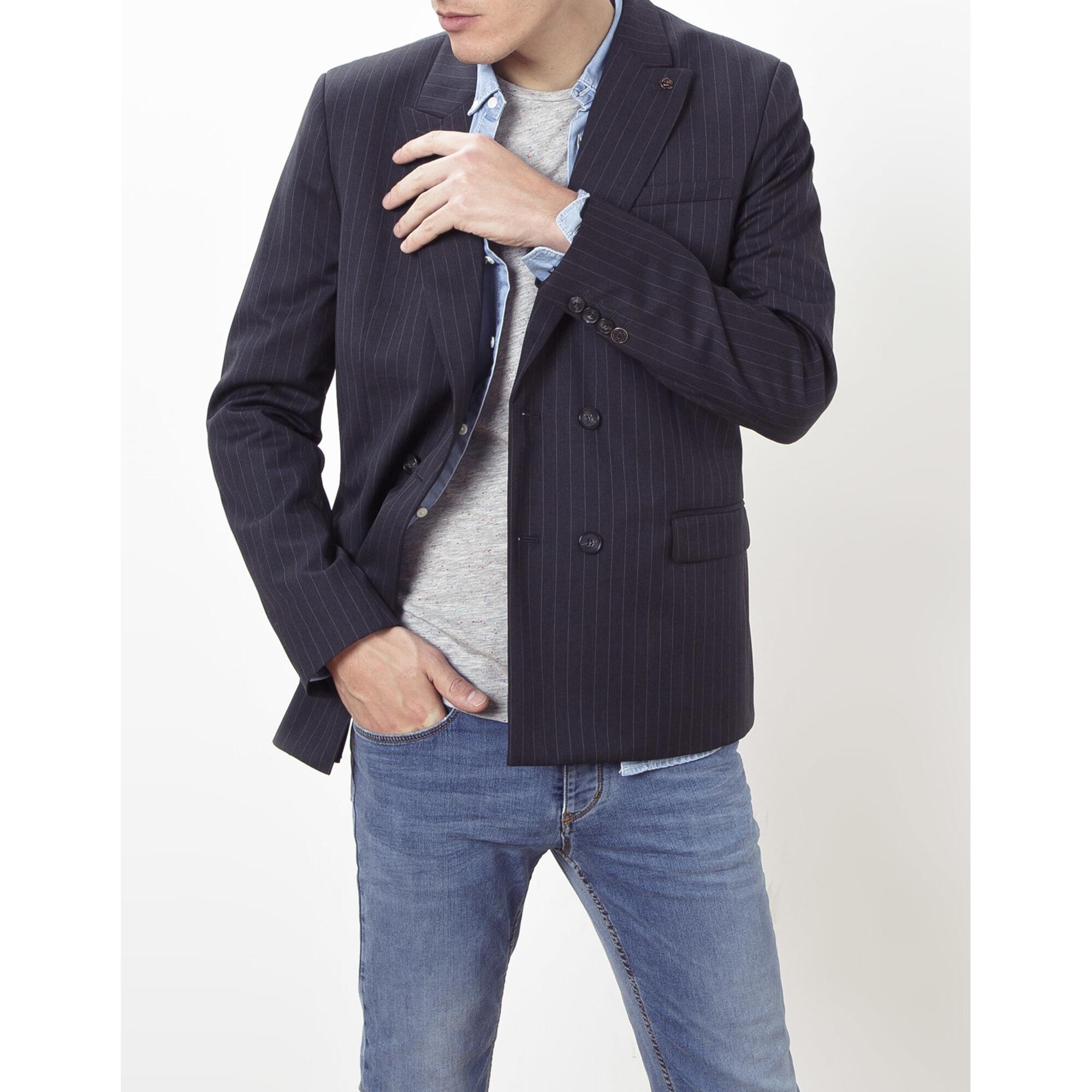 Americana gris de lana, Ikks trabajada por sastrería italiana Vitale Barberis /talla 46 y 52