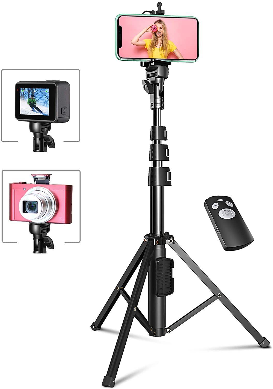 Tripode para Movil, 133cm Palo Selfie Movil Estable y Extensible con Bluetooth