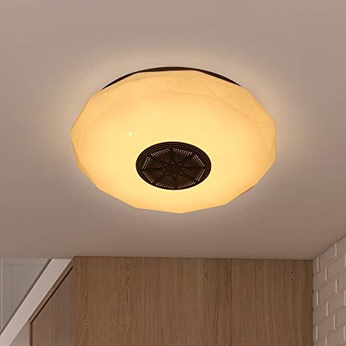 ACELEY Luz de techo, aplicación inteligente Música Iluminación de luz de techo con altavoz Bluetooth y control remoto Cambio de color