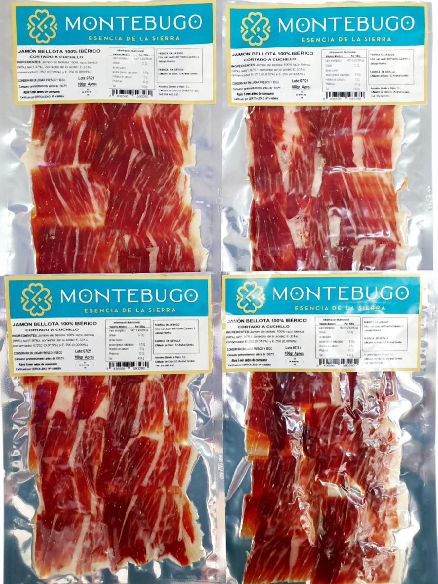 Pack sobres jamón puro bellota 100% raza ibérica cortado a cuchillo Montebugo