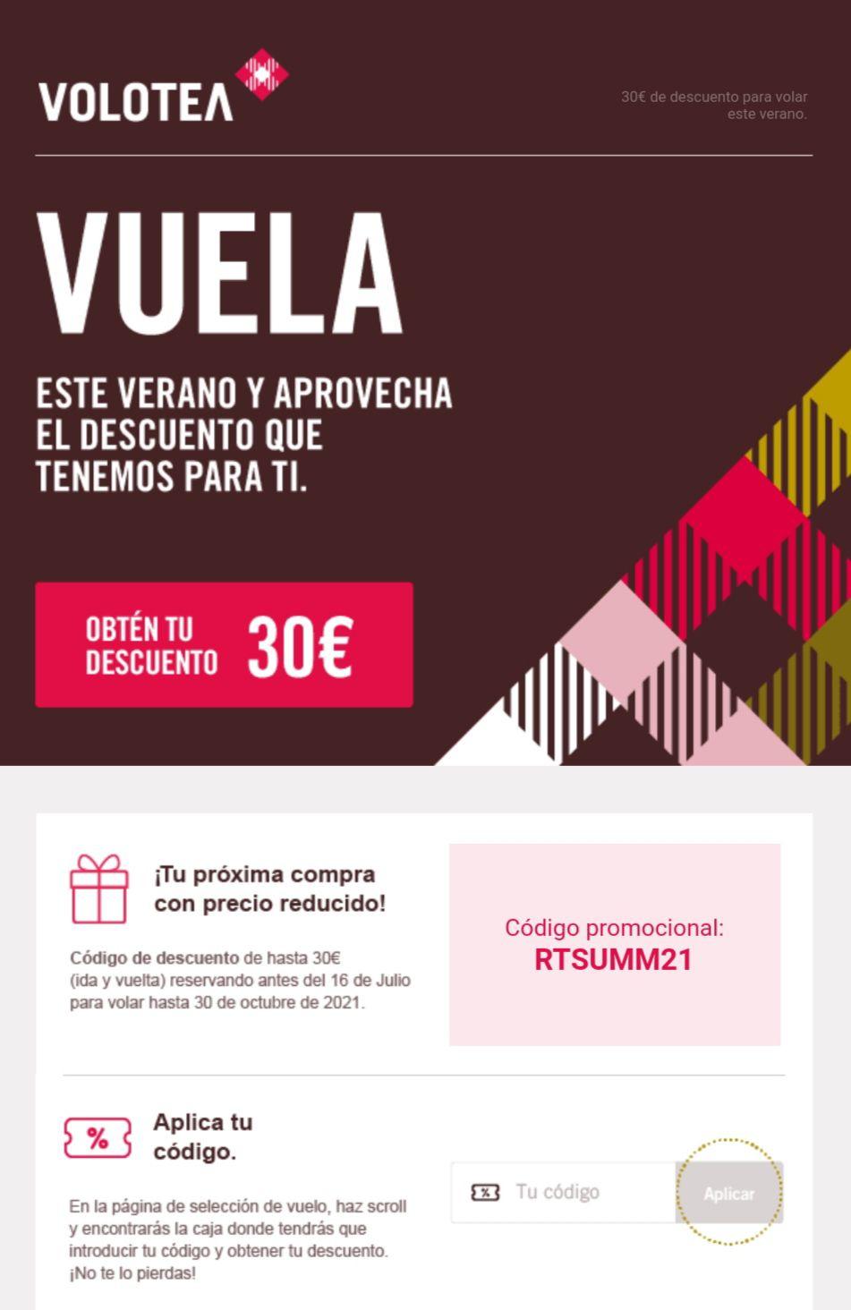 30€ de descuento en VOLOTEA.
