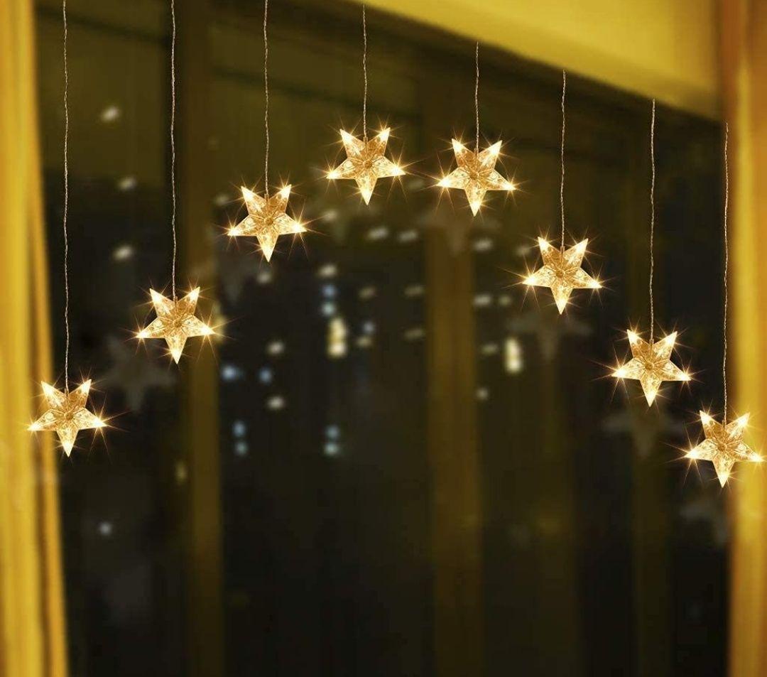 9 Estrellas Luces de Cortina de Ventana 90 LED Blanco Cálido