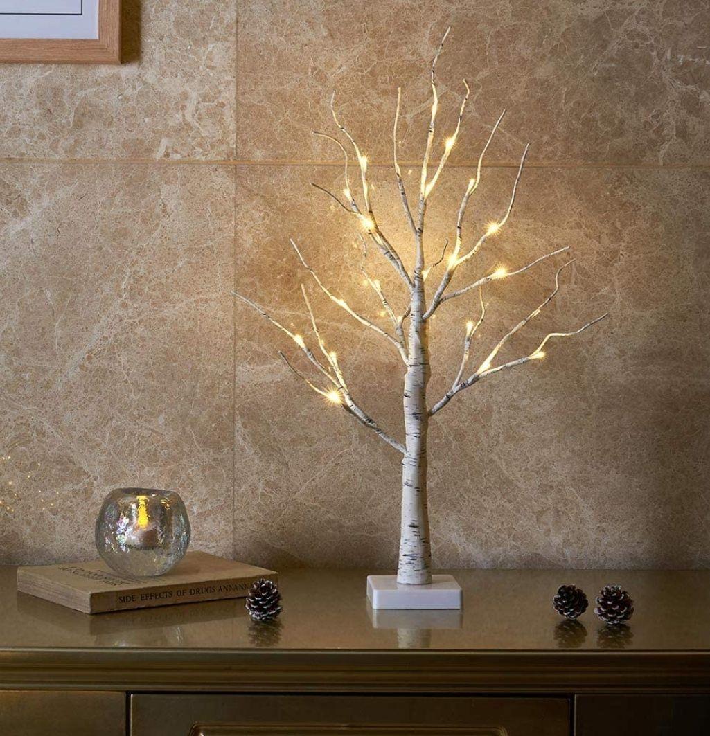 Árbol de Luz LED 60cm Abedul 24LT Luz Blanca