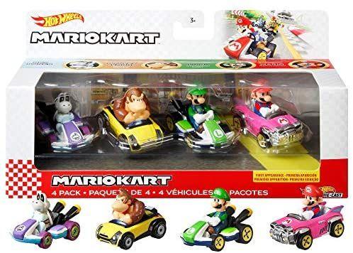 Hot Wheels Mario Kart Primera Aparición Pack con 4 Mini Coches de Juguete con Personaje