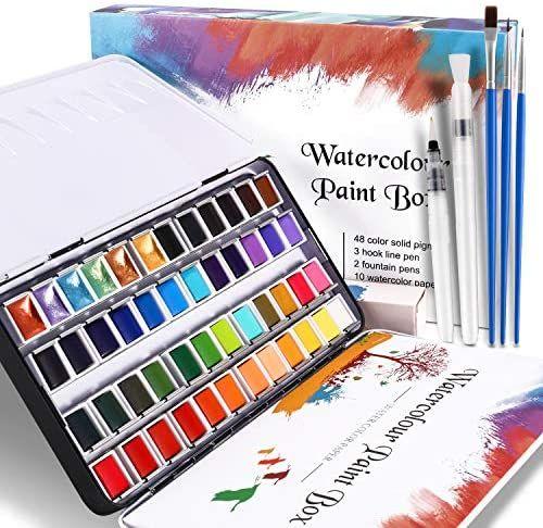 Set de Pinturas de Acuarela, 48 Colores
