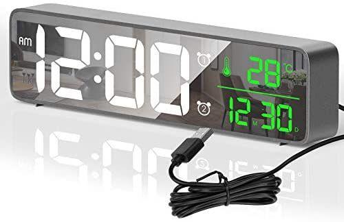 Despertador Digitales LED con 40 Melodias,2 Alarma,Temperatura