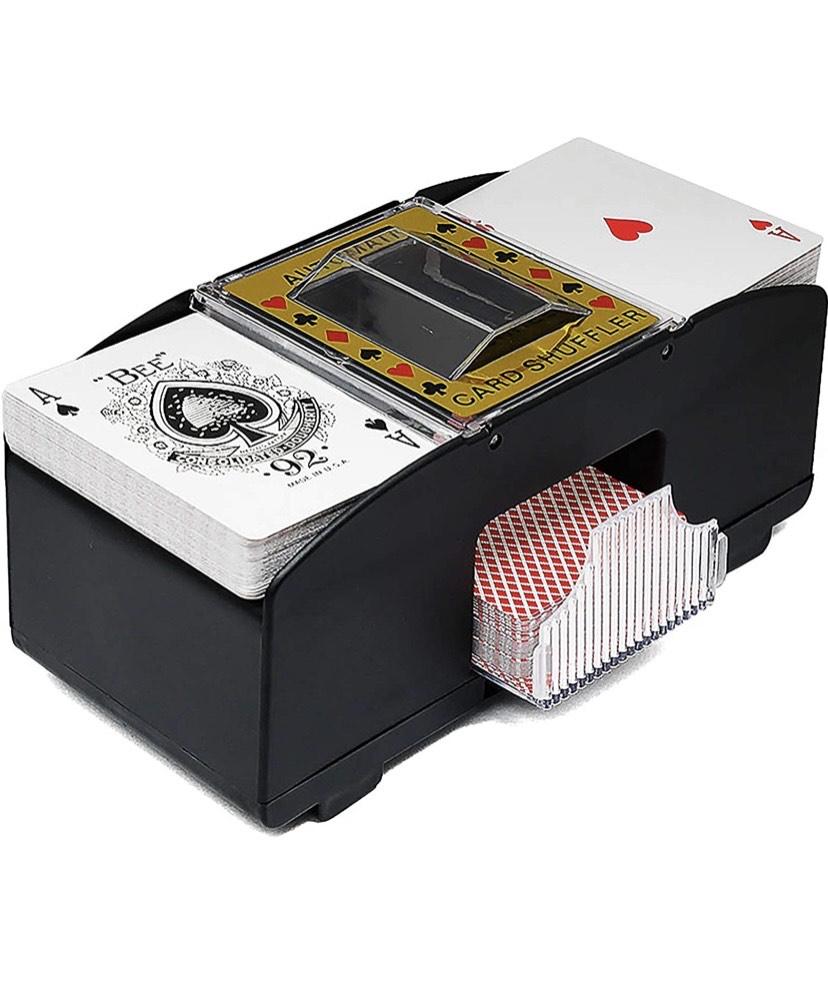 Mezclador de cartas automático para póquer, Rommé, UNO (hasta dos barajas)