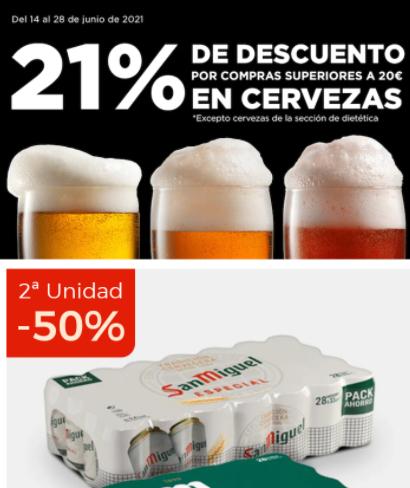 21% de descuento en cervezas y 2 unidad al 50% en el corte