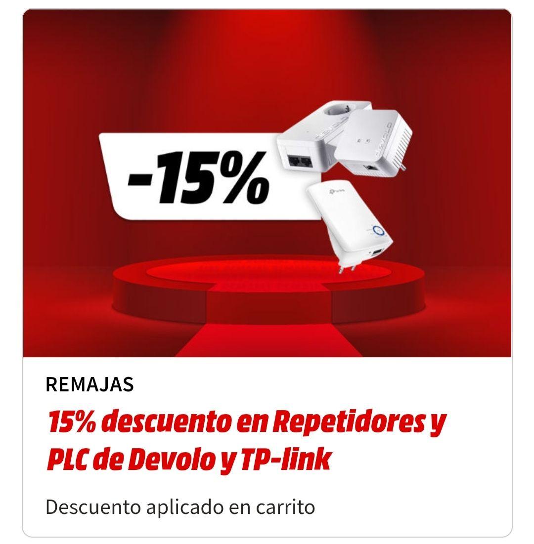 15% de Descuento en Repetidores y PLC de Devolo y TP-link en Mediamarkt