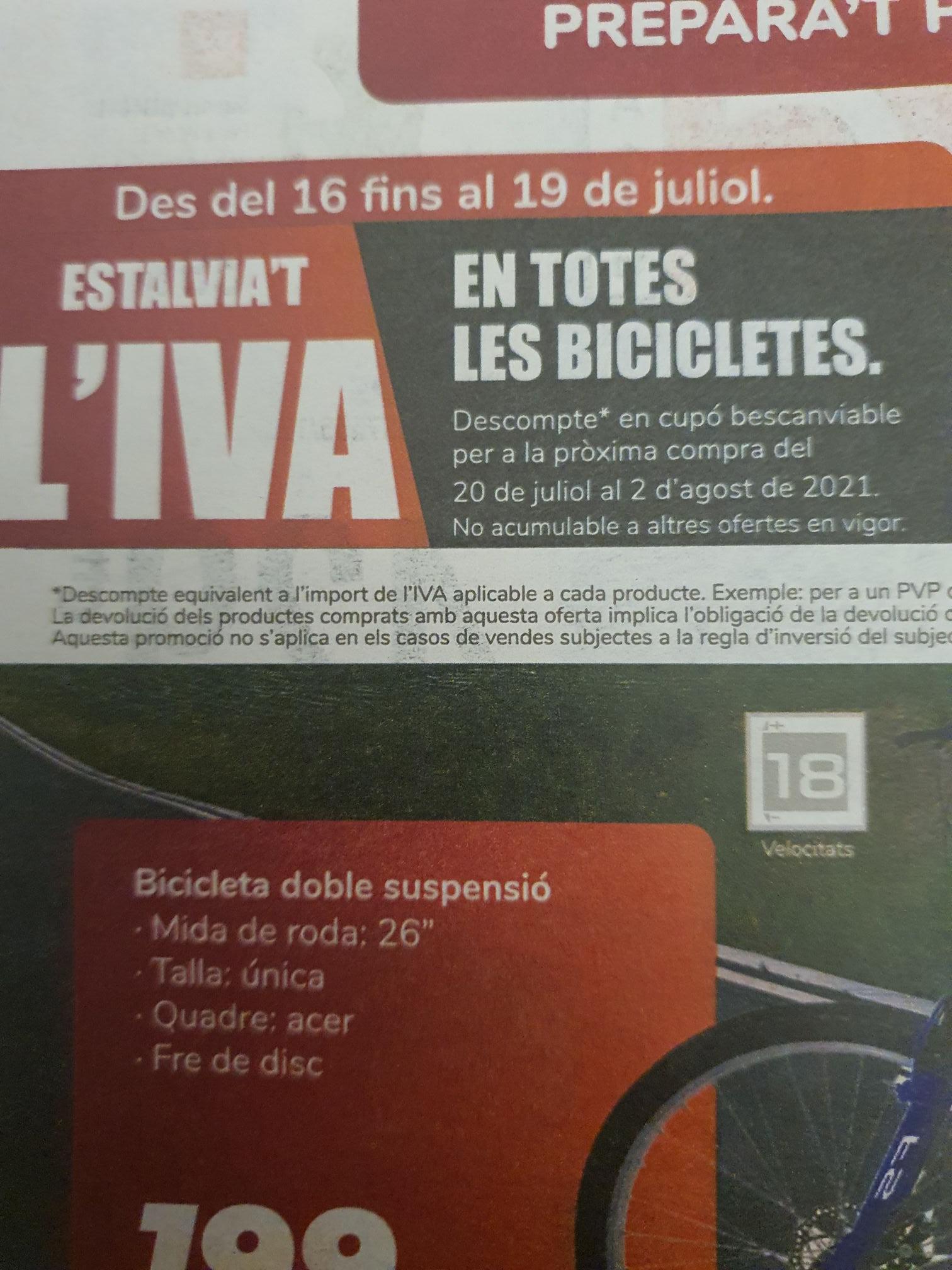 A partir de mañana en Carrefour descuentate el iva en todas las bicicletas con un cupon de descuento para gastar despues