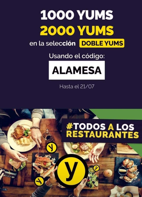 Gana 1000 yums (o 2000 yums en restaurantes doble yums) con este codigo: ALAMESA The fork. El tenedor