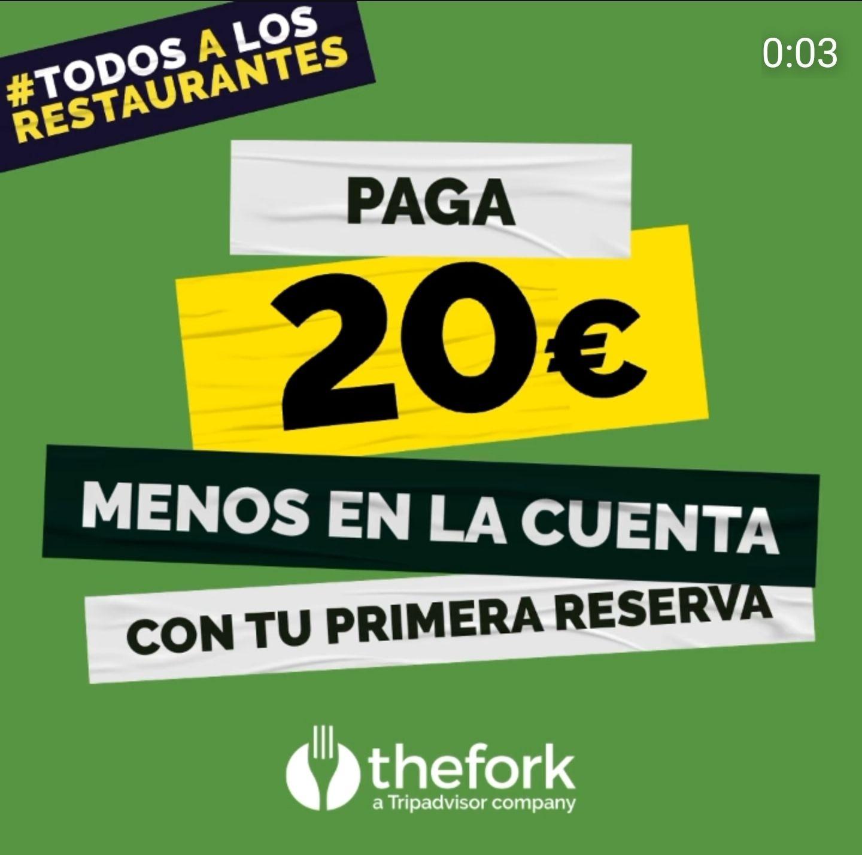 Paga 20€ menos en El Tenedor (TheFork) [cuentas nuevas]