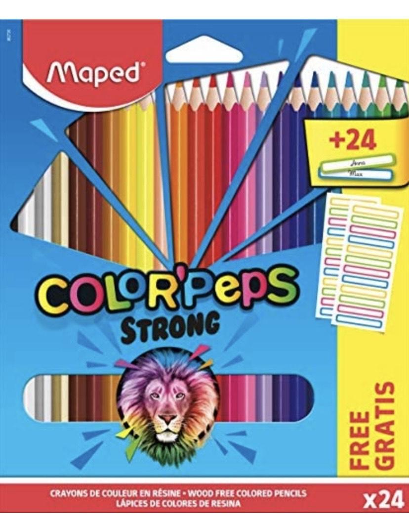 Maped - 24 Lápices de colores ergonómicos triangulares + 24 pegatinas