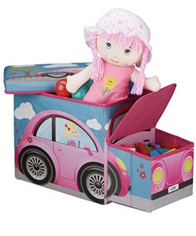Relaxdays Baúl para juguetes,50 litros ,Taburete infantil plegable, Caja con compartimento