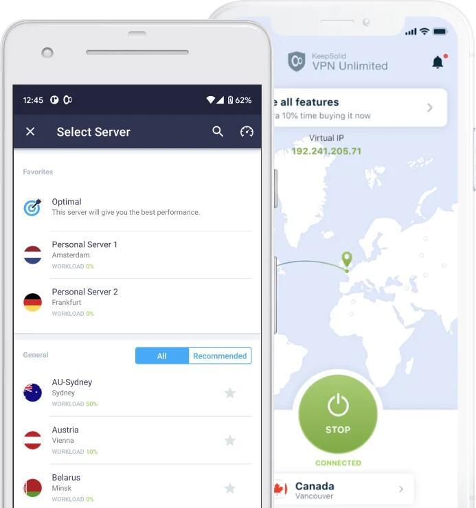 KeepSolid VPN Unlimited: Suscripción a VPN de por vida [5 dispositivos, Dispositivos Streaming+PC+Movil+Routers]