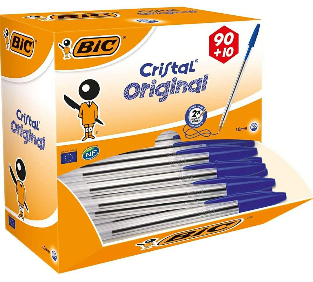 100 bolis BIC Cristal Original, bolígrafos punta media 1.0mm, color azul