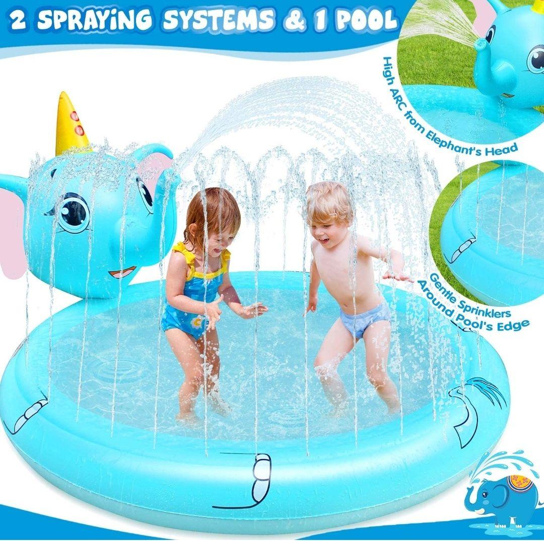 Mini piscina con chorros aspersores con cabeza de elefante