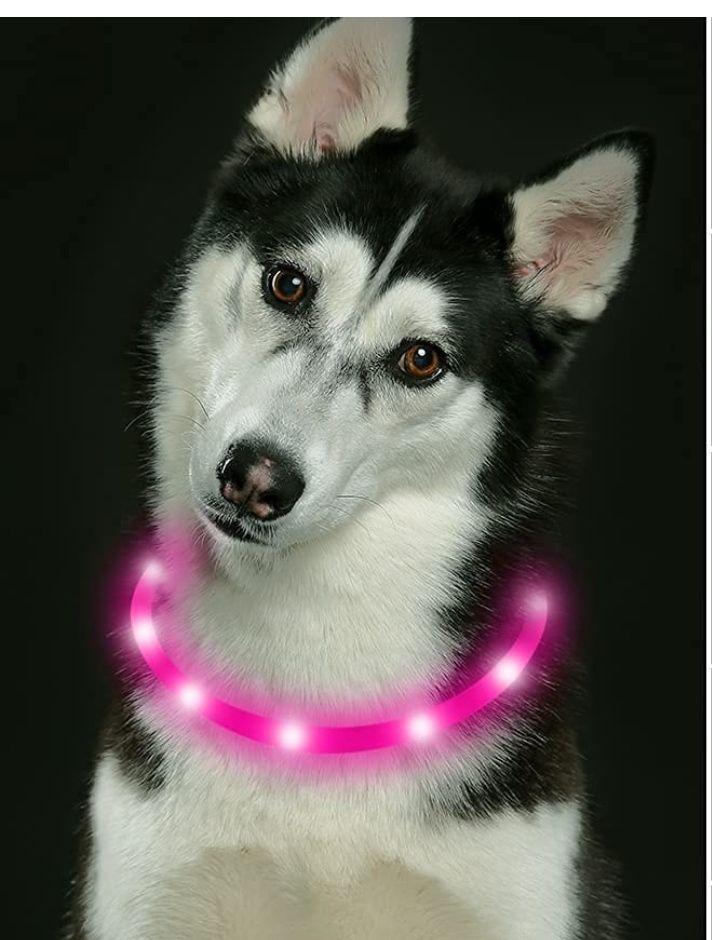 Collar de perro LED recargable USB que brilla intensamente (rosa)