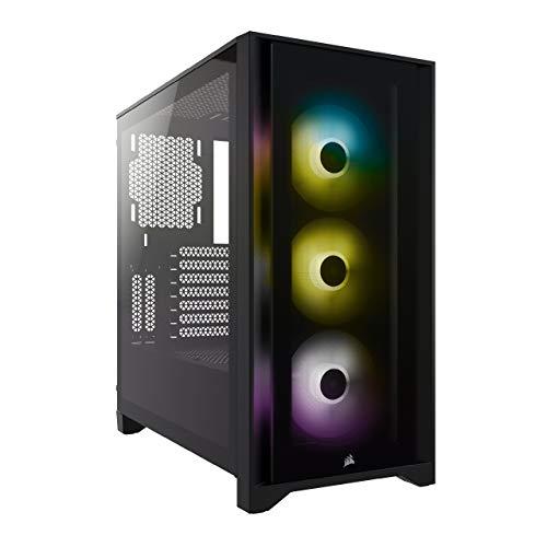 Corsair iCUE 4000X RGB Chasis ATX Semitorre con Cristal Templado, Lateral de Cristal Templado, 3 Ventiladores RGB de 120 mm Incluidos