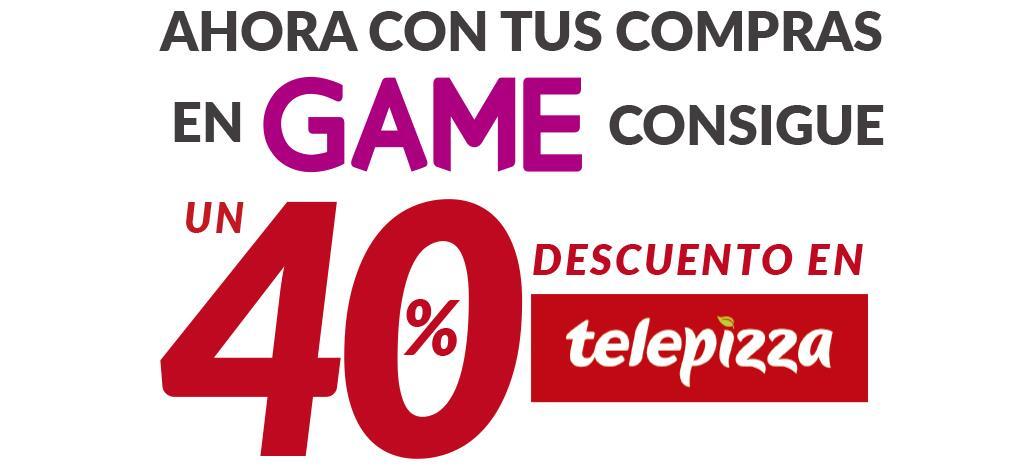 40% de descuento en Telepizza por cualquier compra en Game