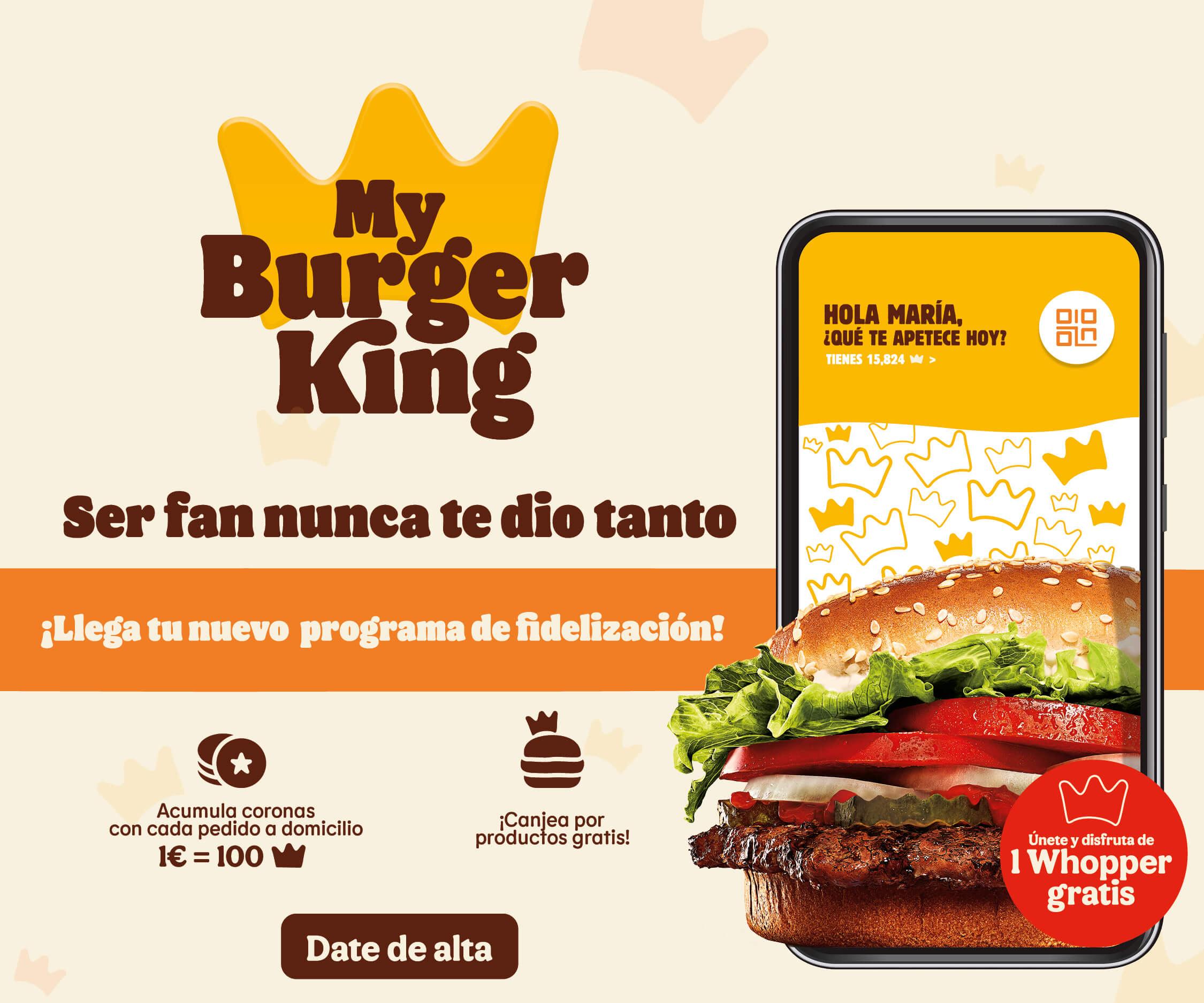 Whopper gratis con tu primer pedido en burger king